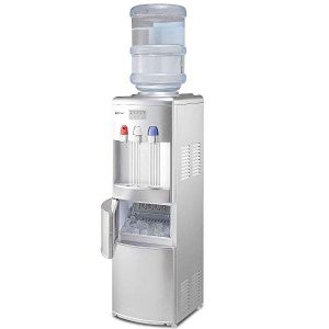 Costway 2-in-1 Water Cooler Dispenser with Built-in Ice Maker Freestanding Hot Cold Top Loading Water Dispenser